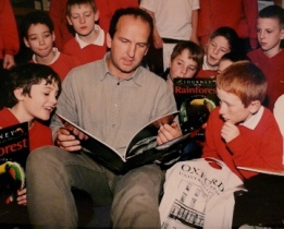 Author with school group